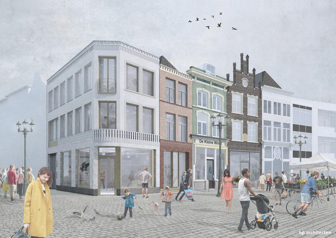 Voorlopig ontwerp van nieuwbouw naast het pand de Kleine Winst.