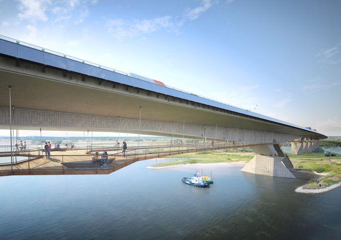 Een artist's impression van de nieuwe brug over het Pannerdensch Kanaal.