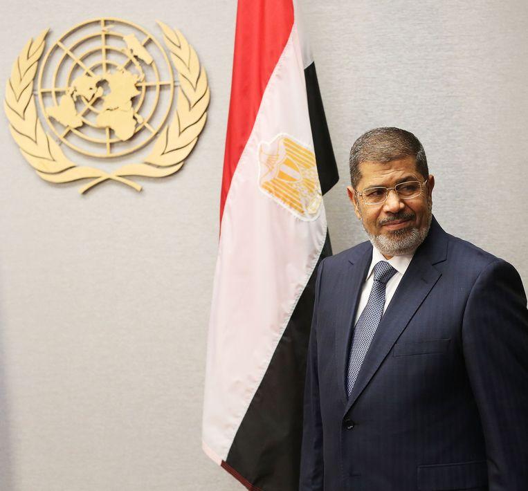 De voormalige Egyptische president Morsi op 25 september 2012 bij een VN-bijeenkomst in New York. Beeld AFP