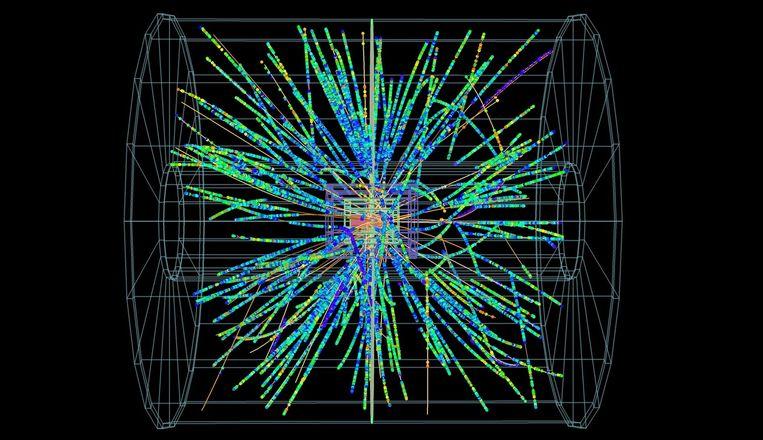 Deeltjes spatten weg na frontale botsing van loodatomen. Beeld Alice / CERN