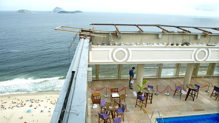 Uitzicht vanuit het Caesar Park Hotel in Rio de Janeiro. Het Nederlands elftal zal in het hotel, gelegen in de wijk Ipanema, verblijven tijdens het WK voetbal in Brazilie. Beeld anp