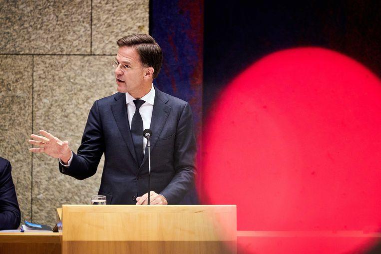 Premier Rutte tijdens het debat over racisme in de Tweede Kamer.  Beeld ANP