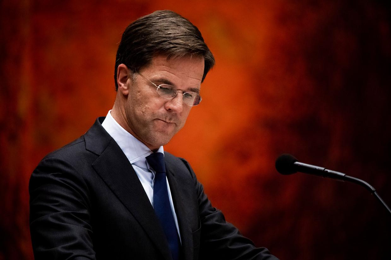 Premier Mark Rutte tijdens het debat over de dividendbelasting.
