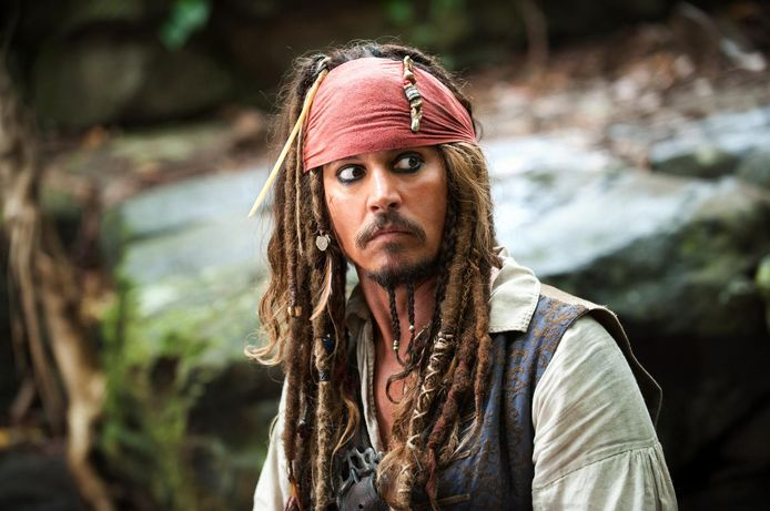 Johnny Depp speelt kapitein Jack Sparrow in de 'Pirates of the Caribbean'-films.