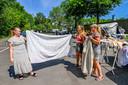 Demonstratie woonwagenbewoners, zij willen extra plaatsen van de gemeente Roosendaal