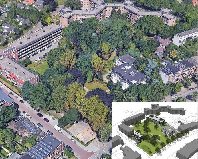 Een luchtfoto van Villa Trianon met daaromheen de grote tuin. Inzet: een impressie van hoe het terrein straks wordt ingericht met achter de villa een nieuw appartementencomplex en links aan de Okeghemlaan drie geschakelde woningen.