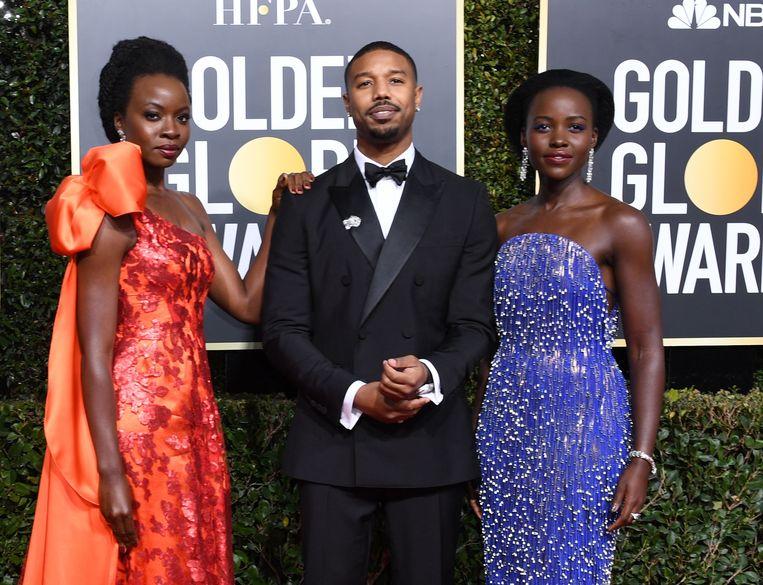 Lupita Nyong'o, Michael B. Jordan en Danai Gurira op de rode loper.