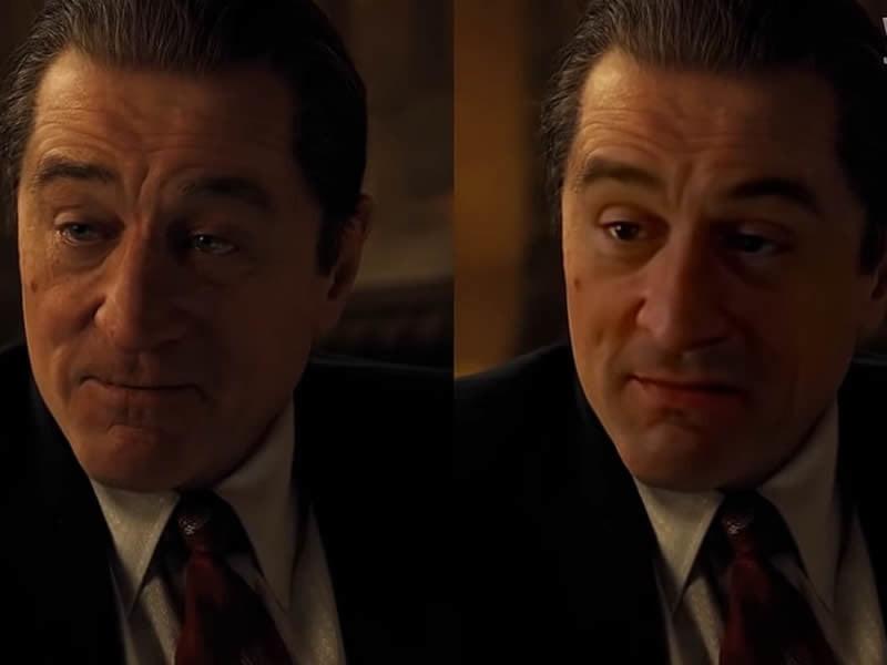 """A gauche: Robert De Niro rajeuni dans """"The Irishman"""" version Netflix. A droite, la version corrigée grâce au logiciel DeepFake."""