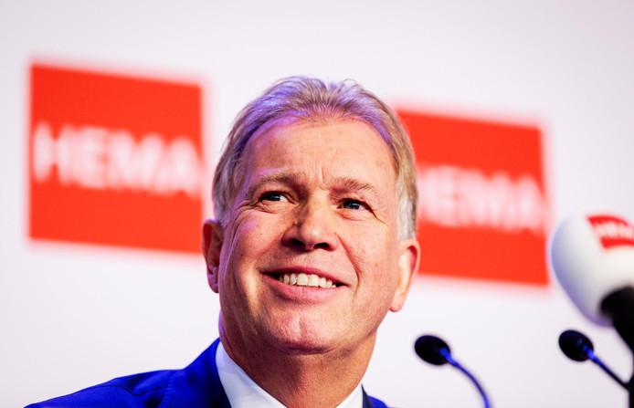 Ondernemer Marcel Boekhoorn tijdens de persconferentie over de overname van Hema.