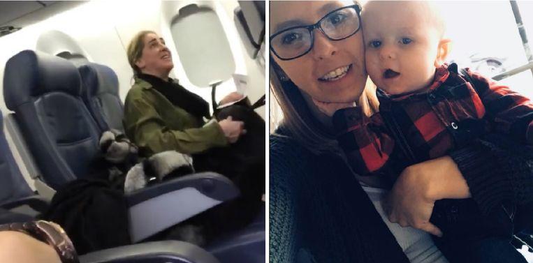 Links de klagende passagier, rechts Marissa Rundell met haar zoon Mason.