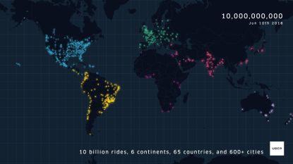 Uber viert tien miljardste rit: deze video toont hoe snel taxidienst hele wereld inpalmde