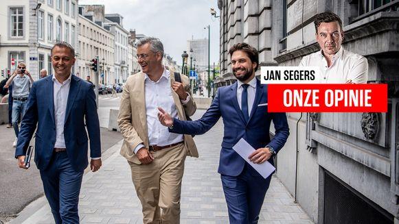 Open Vld-voorzitter Egbert Lachaert,CD&V-voorzitter Joachim Coens en MR-voorzitter Georges-Louis Bouchez.