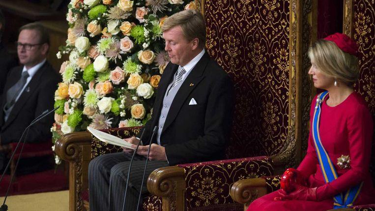 Koning Willem Alexander en koningin Maxima tijdens de troonrede. Beeld anp