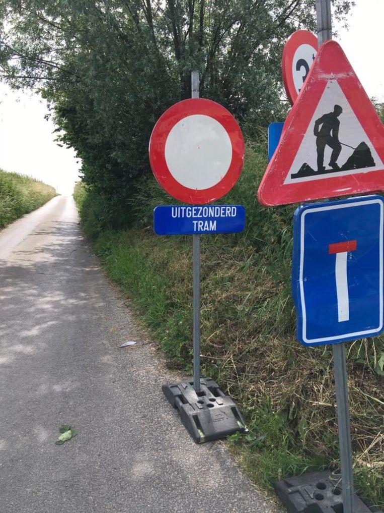 'Uitgezonderd tram': hilariteit in de Mussestraat in Maarkedal.