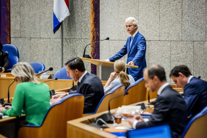 Geert Wilders (PVV) tijdens de tweede dag van de Algemene Politieke Beschouwingen, het debat na de troonrede op Prinsjesdag.