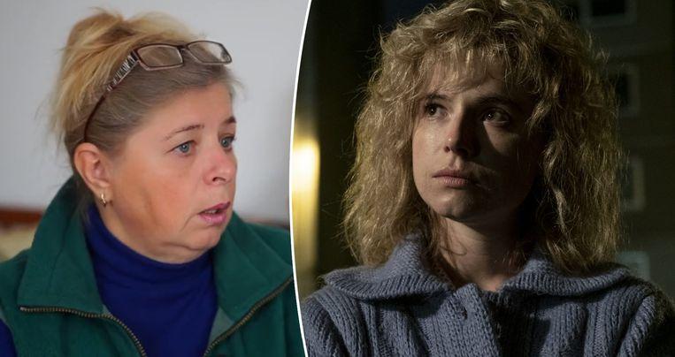 Lyudmila Ignatenko: links tijdens het interview met BBC, rechts de actrice die haar vertolkt in de HBO-reeks.