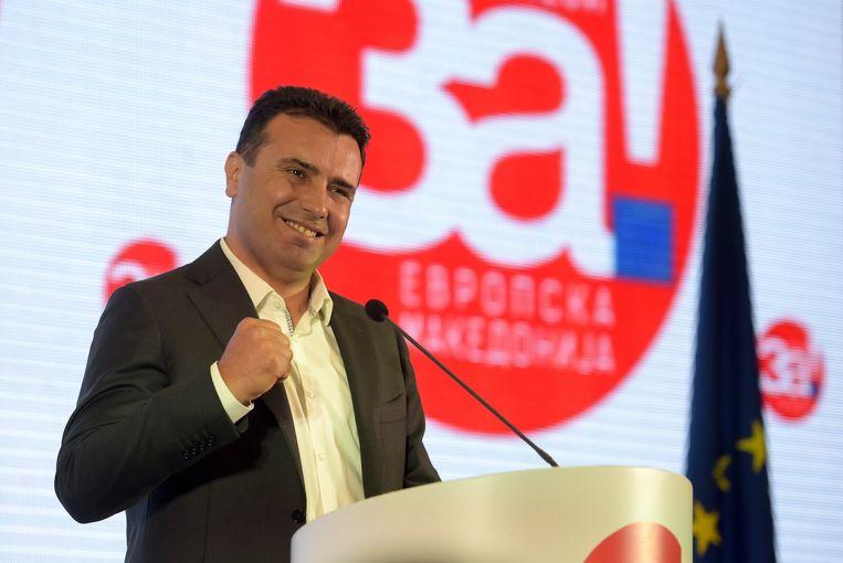 De Macedonische premier Zoran Zaev houdt een persconferentie na het referendum.  Zijn collega, parlementsvoorzitter Talat Dxaferi - die lid is van de Albanese minderheid - heeft naar eigen zeggen niet mogen stemmen bij het referendum over de naamswijziging van het land.
