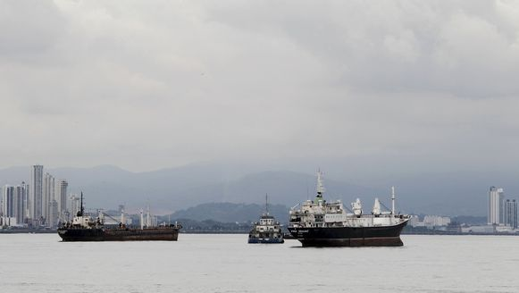Cargoschepen nabij Panama City deze week.