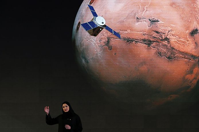 Sarah Amiri, de drijvende kracht achter de Marsmissie van de Verenigde Arabische Emiraten.