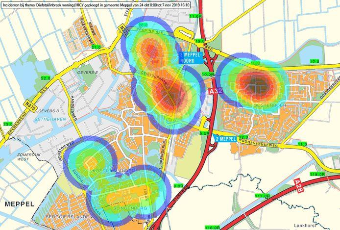 Heatmap van de politie waarin wordt aangegeven waar in Meppel inbraken plaatsvonden, in de buurt van de rode vlek op de Ceintuurbaan ligt politiebureau Meppel.