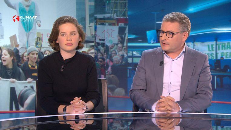 Klimaatactiviste Anuna De Wever met minister van Omgeving, Natuur en Landbouw Koen Van den Heuvel (CD&V).