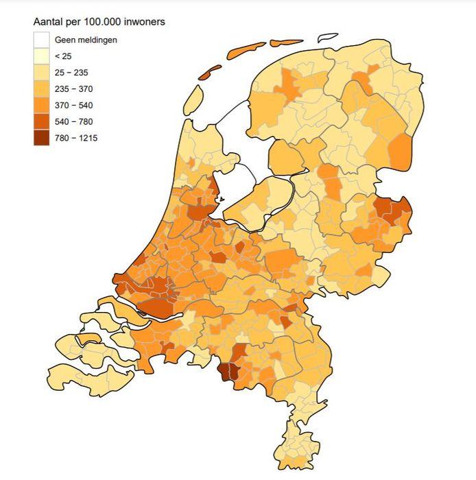 Het aantal besmettingen per 100.000 inwoners in de afgelopen twee weken, van 29 september tot 13 oktober. Bladel en Reusel-De Mierden zijn donkergekleurd.