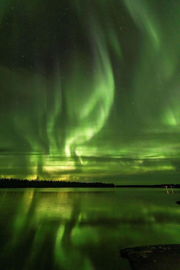 Het noorderlicht afgelopen weekend boven de Finse stad Rovaniemi in Lapland.