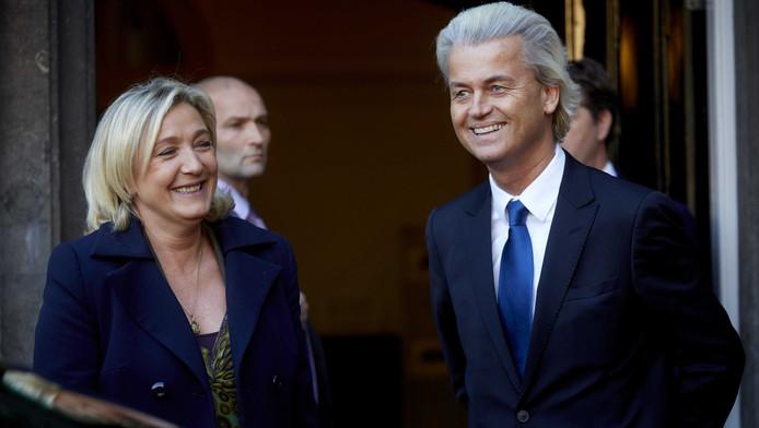 PVV-leider Geert Wilders ontvangt de voorzitter van het Franse Front National, Marine Le Pen, op het Binnenhof