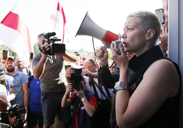 Maria Kolesnikova bij een demonstratie in  augustus. Beeld EPA