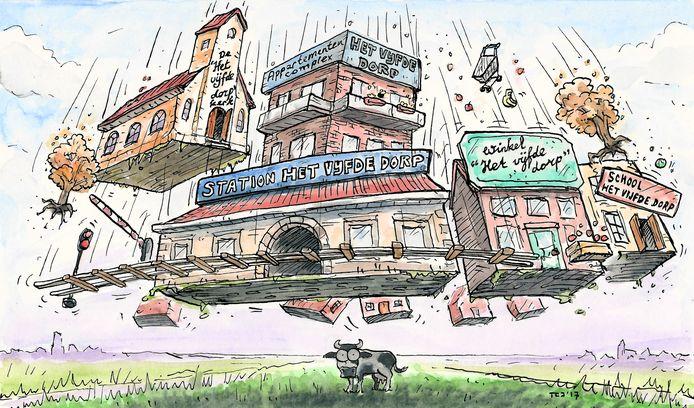 Illustratie voor bij het artikel over 'Het vijfde dorp' voor AD Groene Hart van donderdag 23 november.