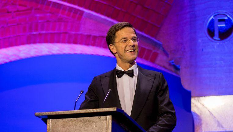 Mark Rutte woensdagavond tijdens het Correspondents' Dinner Beeld anp