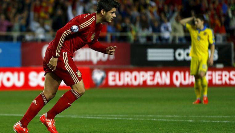 Alvaro Morata maakte zijn eerste in het shirt van Spanje. Beeld reuters
