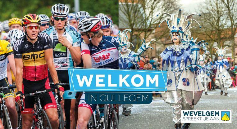 Op het bord van Gullegem staan sfeerbeelden van Gullegem Koerse en carnaval.