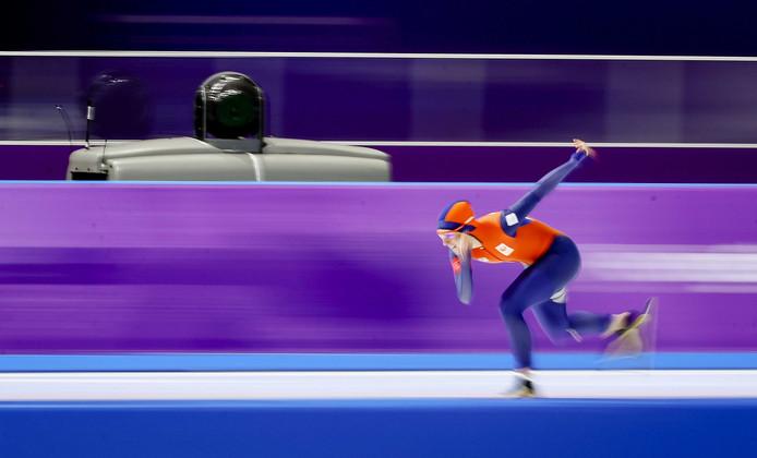 Ireen Wüst op maandag tijdens haar gouden 1500 meter.