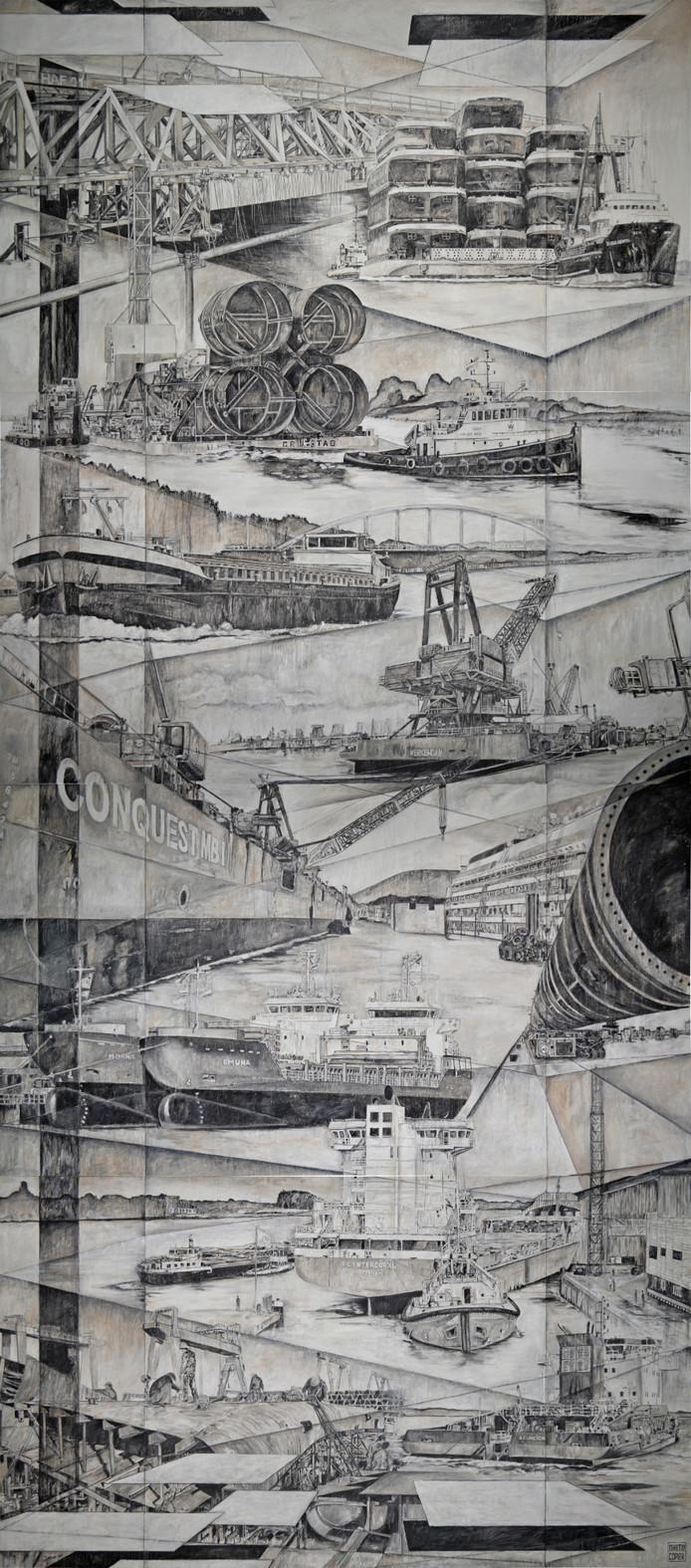 Het kunstwerk in de bedrijfshal van de Concordia Group.