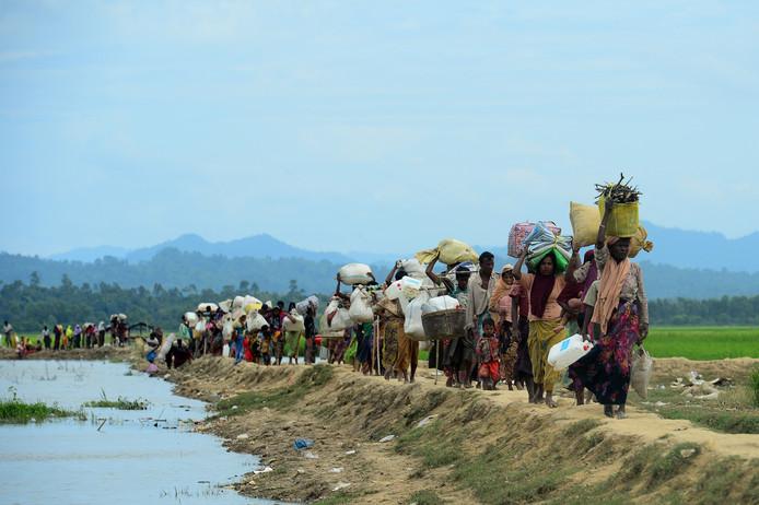 De vlucht van de Rohingya's in 2017.