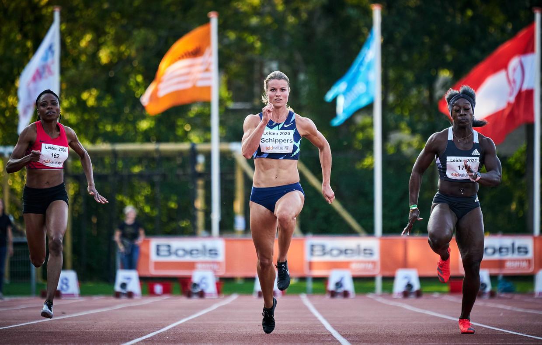 De Nederlandse Dafne Schippers loopt een 100 meter in Leiden, deze maand.