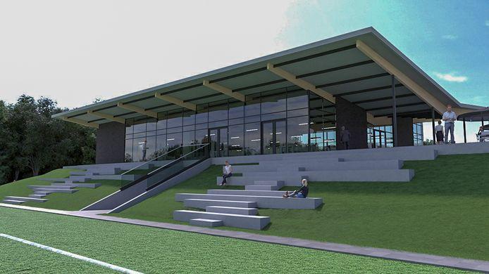 Impressie van het nieuwe clubhuis voor Jonge Kracht in Huissen. Ontwerp: Croonen architecten, Nijmegen.