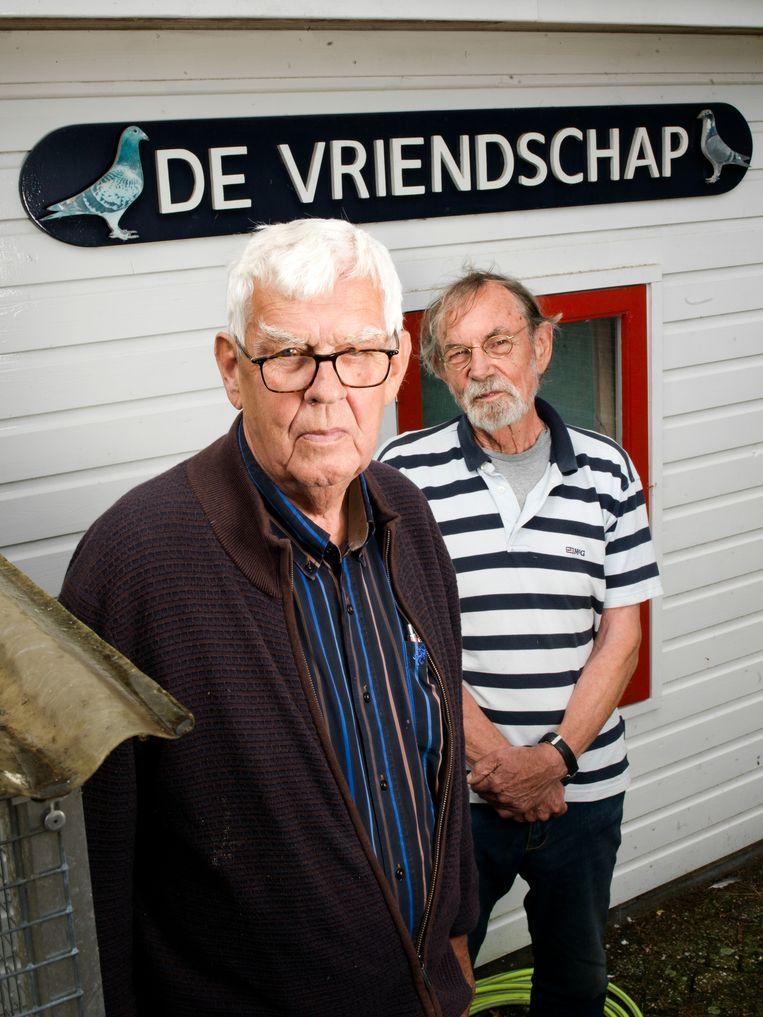 Drikus van den Essenburg (met bril)  (75) is voorzitter van postduivenvereniging De Vriendschap in Hattemerbroek en al bijna 50 jaar lid. Jan Klein (79) noemt hij een 'echte vriend', ook al gaan ze nooit bij elkaar op visite. Beeld Eva Roefs