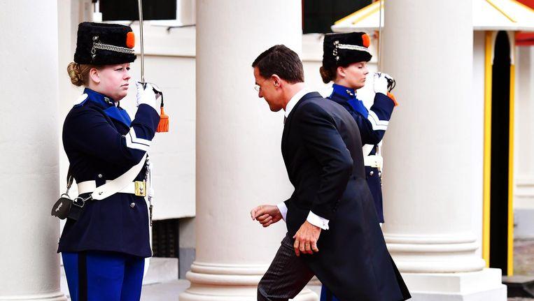 Mark Rutte arriveert op Paleis Noordeinde Beeld anp