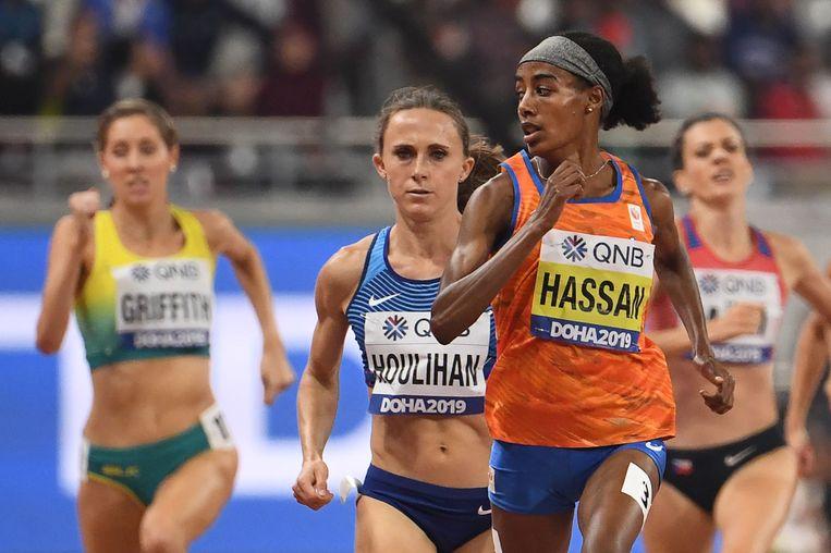 Sifan Hassan in haar halve finale op de 1.500 meter. Beeld AFP