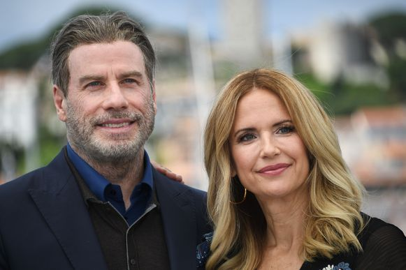 John Travolta en Kelly Preston, hier in Cannes in 2018.