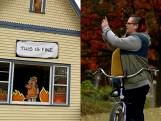 2020 samengevat in een halloweendecoratie: 'This is fine'