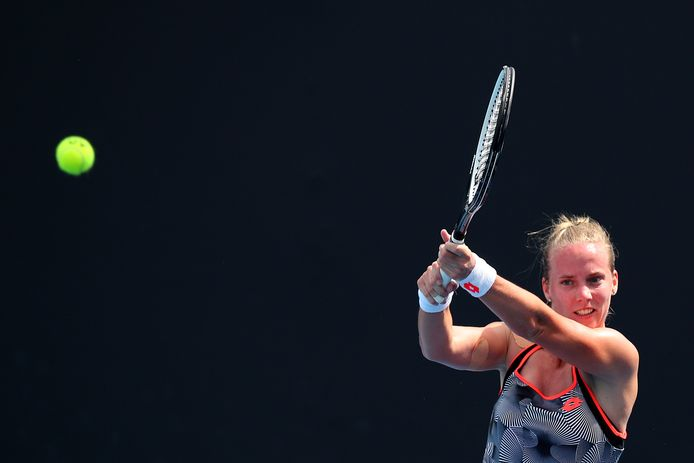 Richel Hogenkamp bij de kwalificatie voor de Australian Open.