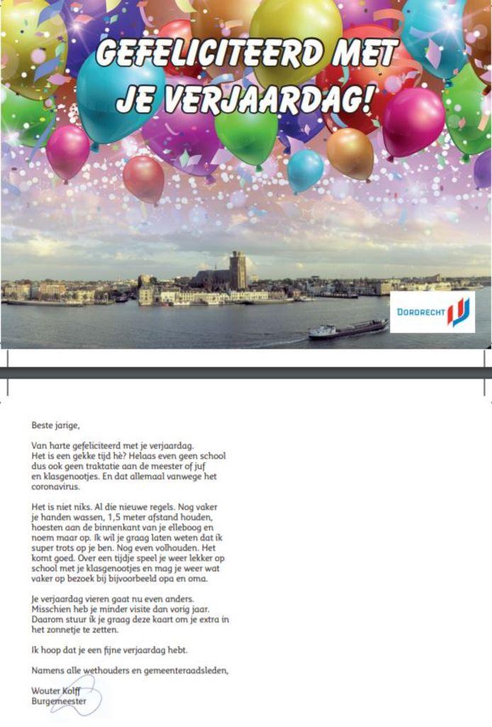 De volledige tekst van de verjaardagskaart.