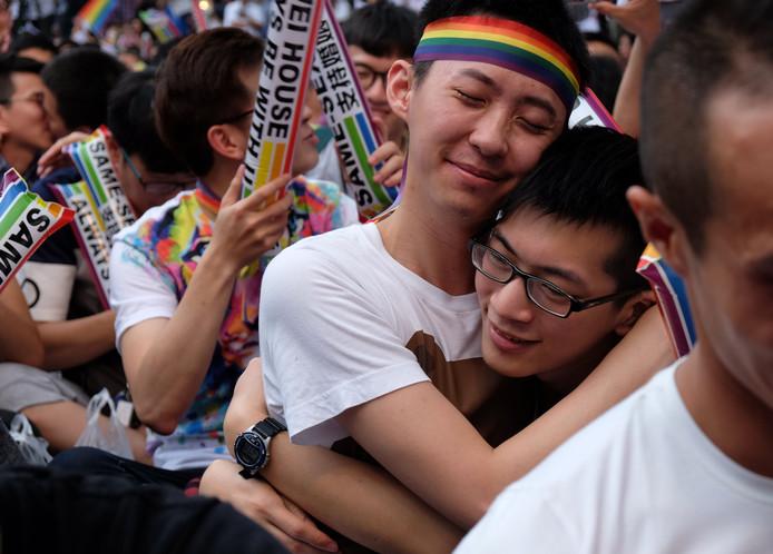 De legalisering van het homohuwelijk wordt vandaag gevierd in Taiwan.