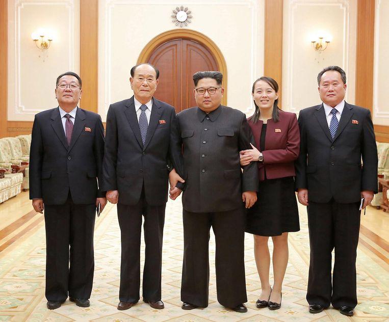 Deze foto zou zijn gemaakt bij gelegenheid van de terugkeer van de zus van Kim Yo-jong uit buurland Zuid-Korea. Beeld epa