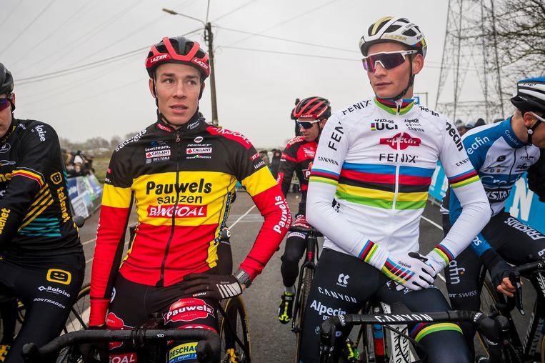 De Belgische en de Nederlandse kampioen voor de start broederlijk naast elkaar.
