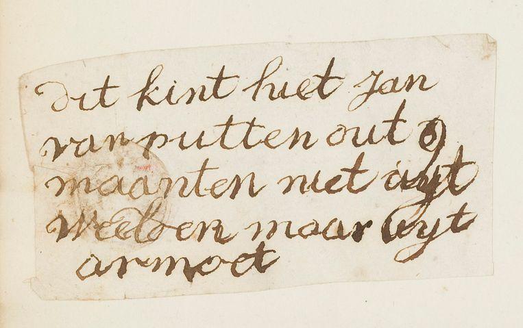 Een van de briefjes die werd achtergelaten bij de kinderen. Beeld Amsterdam Museum
