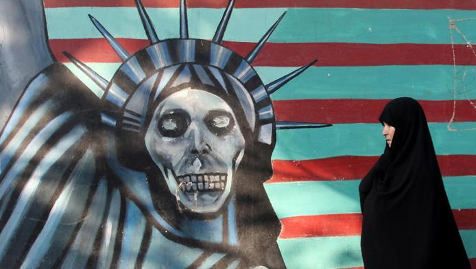 Muurschildering in Teheran.